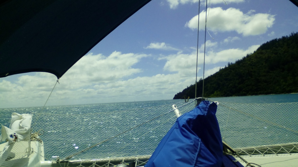 motoring through the narrows towards butterfly bay, no wind.