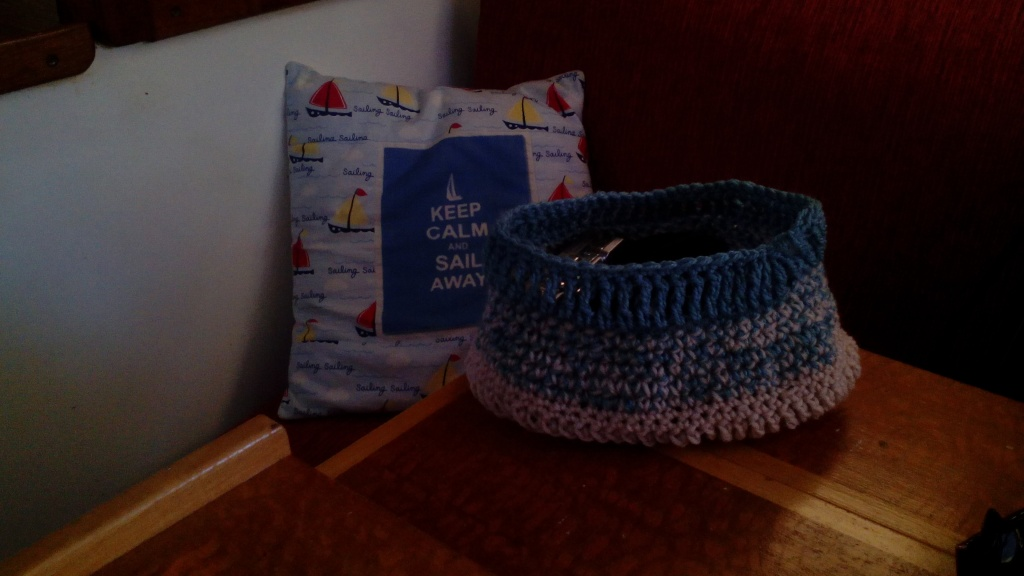 I crocheted a little basket for all the little bits to go in so they are not piling up on the table